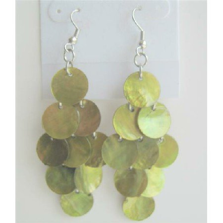 UER120  Sexy Lime Shell Chandelier Dangle Earrings Lime Mop Shell Dangle Earrings