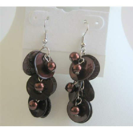 UER069  Brown Shell Moop Shell Earring w/ Simulated Beads Dangling Earrings