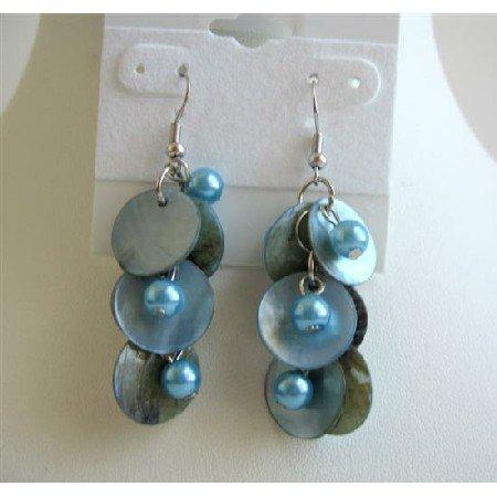 UER078  Mop Shell Danling Blue Shell Earrings w/ Simulated Pearls Earrings