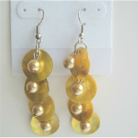 UER119 Shell&Simulated Pearls Dangle Earrings Yellow Mop Shell w/ Leamon Beads Earrings