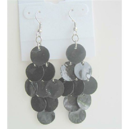 UER141  Striking Black Shell Earrings Mop Shell Dangle Earrings