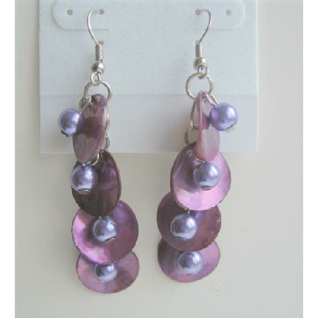 UER082  Purple Shell & Simulated Pearls Shell Chandelier Earrings Shell w/ Beads Dangle Earrings