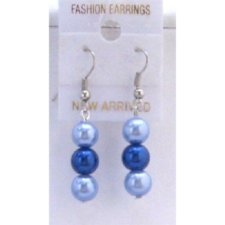U116  Two Pearls Color Earrings Light & Dark Blue Pearls Earrings