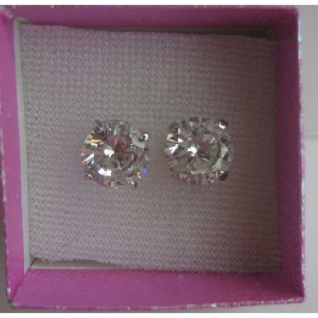 UER107  10mm Round Simulated Diamond Cubic Zircon Stud Earrings w/ Gift Box Packing