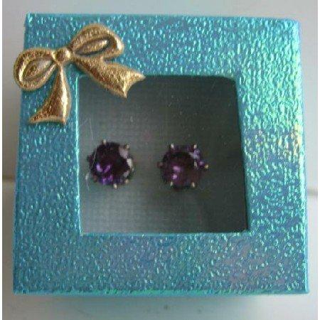 UER104  Dark Amethyst Cubic Zircon 8mm Stud Earrings w/ Gift Box Packing
