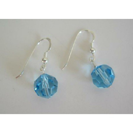 UER110  Aquamarine Swarovski Crystals 10mm Earrings Sterling Silver Crystals Earrings