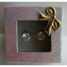 UER101  Simulated Diamond Cubic Zircon 8mm Stud Earrings w/ Gift Box Packing