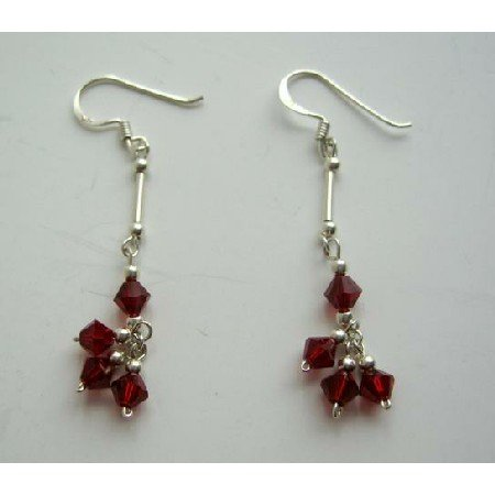 UER096  Siam Red Crystals Sterling Silver Earrings Swarovski Crystals Earrings