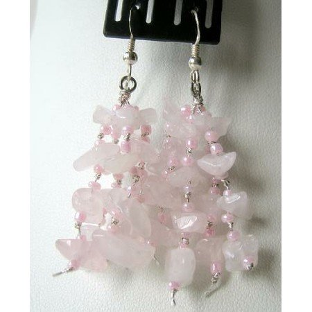 UER068  Sterling Silver Genuine Rose Quartz Nugget Chip Earrings