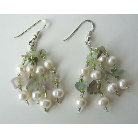 UER073  Freshwater Pearls Amethyst Green Aventurine Stone Chip Beads Sterling Silver Earrings