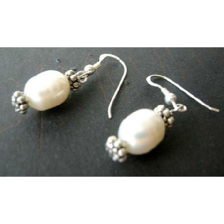 UER074  Sterling Silver Freshwater Pearls And Bali Silver Earrings
