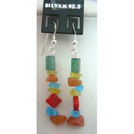 UER055  Multi Colored Stone Chip Sterling Silver 92.5 Earrings