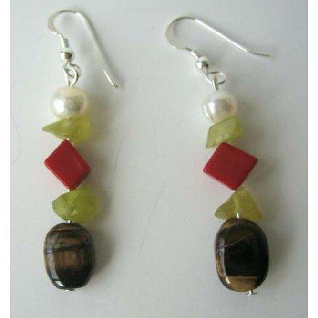 UER071 Freshwater Pearls Apple Jade Stone Bead Coral Bead Tiger Eye Sterling Silver Earrings