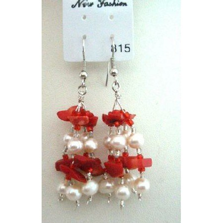 UER044  Genuine Coral Beads & Freshwater Pearls w/ Glass Beads Dangling Earrings