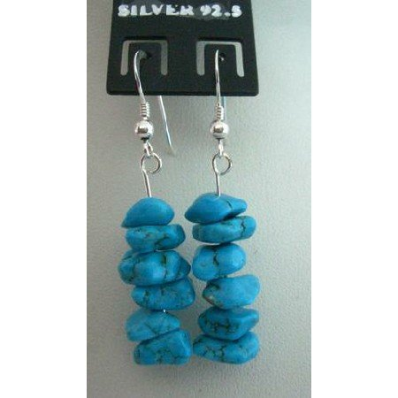 UER058  Sterling Silver Handmade Turquoise Nuggets Earrings