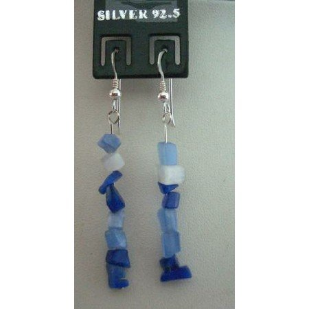 UER056  Trendy Earrings Genuine Sterling Silver W/ Sapphire & Opal Stone Chip & Nugget