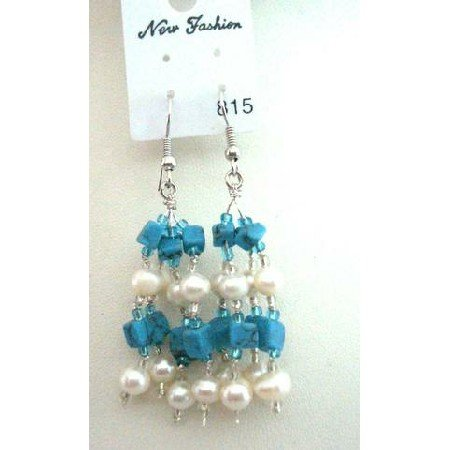 UER047 Turquoise Beads & Freshwater Pearls w/ Glass Beads Dangling Earrings