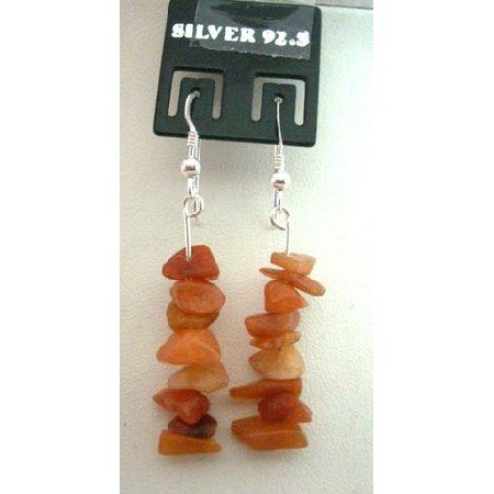 UER057  Handmade Custom Sterling Silver Carnelian Nugget Chip Earrings