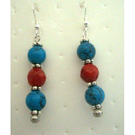 U059  Handmade Turquoise & Coral Red Beads Earrings