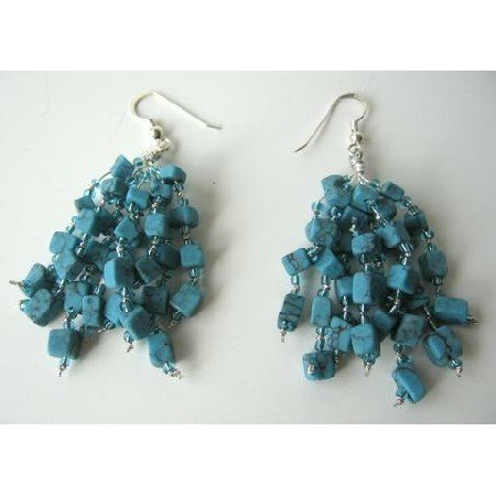 UER070   Sterling Silver Genuine Reconstituted Turquoise Handcrafted Earrings