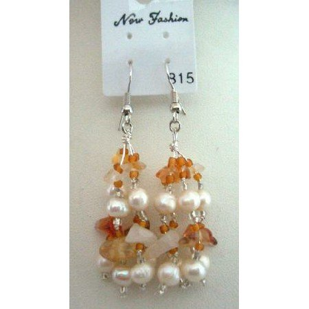 UER046 Genuine Carnelian Stone Chip Beads Freshwater Pearls w/Glass Beads Earrings