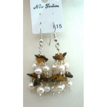UER045  Tiger Eye Stone Chip & Freshwater Pearls Earrings w/ Glass Beads Dangling Earrings