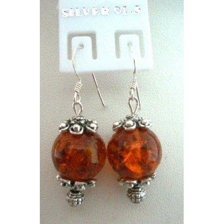 UER053  Genuine Amber Stone Bead w/ Bali Silver w/ Genuine Sterling Silver 92.5 Hook
