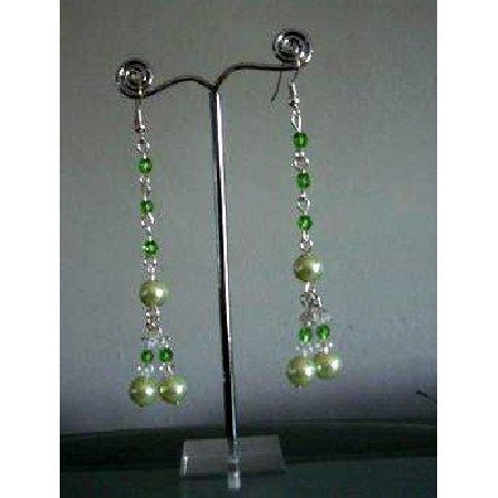 U090  Bunch Green Cultured Pearls & Crystals Drop Earrings