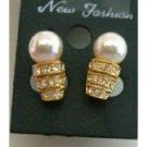 UER034  Dainty Pearls Stud Earrings 22k Gold Plated w/ CZ Embossed