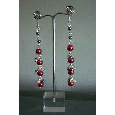 U091  Chandelier Earrings Cultured Pearls Red D.Grey & Cream Colors Earrings