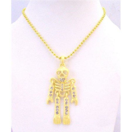 HH214  Halloween Yellow Skeleton Body Pendant Necklace Pendant w/Embedded Simulated Diamond