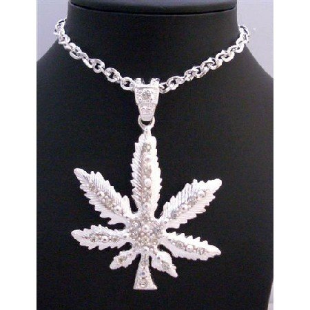 HH197 Cubic Zirconia Iced Weed Pendant Flashy Weed Sparkling Pendent Thick Necklace