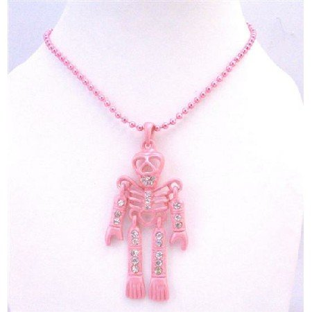 HH216  Sexy Pink Skeleton Pendant Necklace Fully Body Embedded w/ Cubic zircon Pink Jewelry