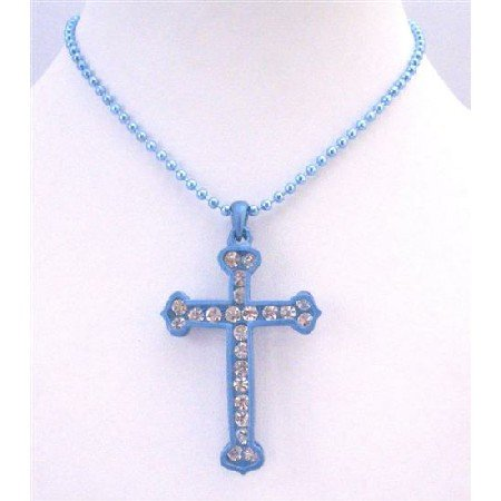 HH219  Turquoise Cross Pendant w/ Diamante Pendant Fully Embedded Cubic zircon Cross Pendant Jewelry