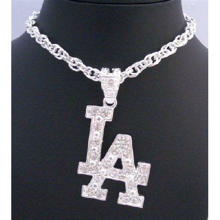 HH108  LA Pendant Fully Embedded With Cubic Zircon Flasshy Striking Pendant Long Necklace
