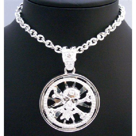 HH061  Skull Head Spinning Pendant Skull Pendant Necklace Embedded w/ CZ