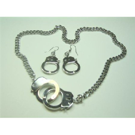 HH011  Gorgeous Hand Cuff Pendant & Earrings w/ Thick Chain Necklace