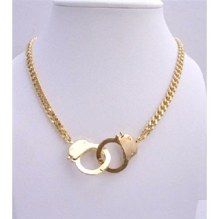 HH003  Gold Handcuff Pendant Necklace Sexy Thick Gold Chain w/ Openable Hand Cuff