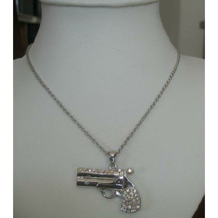 HH036  Simulated Cubic Zircon Diamond Gun Necklace