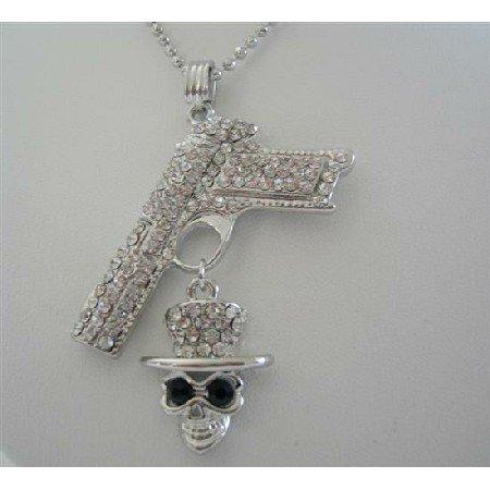 HH157  Cubic Zircon Gun And Skull Pendant Shimmering Bling Bling Gun Skull 24 Inches Chain