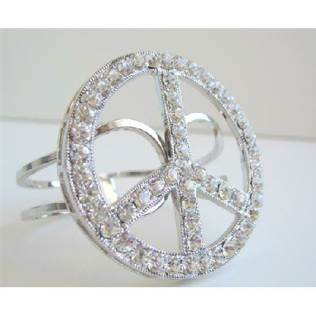 HH014  Peace Cuff Bracelet Sparkling Shimmering Bling Bling Peace Cuff Bracelet