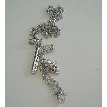 HH087  Skull Pendant Hip Hop Jewelry w/ Gun Skull Tassel 18 Inches Chain