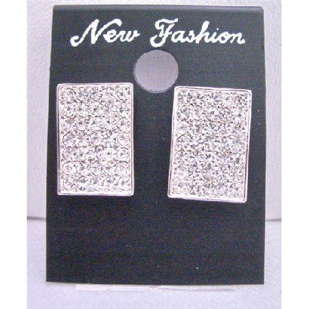 HH068  Shimmering Sparkling Hip Hop Earrings Dog Tag Earrings Full Embedded w/ CZ