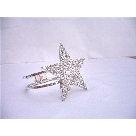 HH029  Star Cuff Bracelet Bling Bling Like Diamond Star Cuff Bracelet Embedded w/ CZ