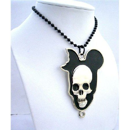 HH086  Halloween Skull Hip Hop Black Chained Necklace 30 Inches Long Necklace