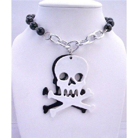 HH034  Hip Hop Halloween Pearls Necklace w/ Skull Head Pendant 30 inches Long Necklace