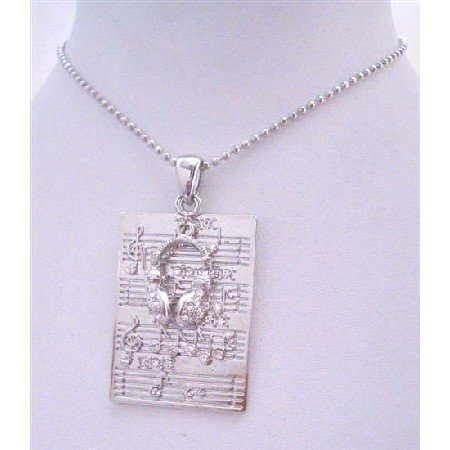 HH012Musical Note Pendant Rectangular Silver Pendant w/Head Phone w/CZ Necklace