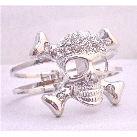 HH138  Skull Cuff Bracelet Simulated Diamond On Skull Forehead Hiphop Cuff Bracelet