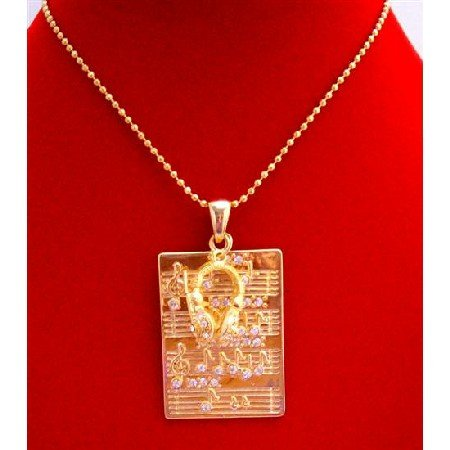 HH013Gold Hip Hop Pendant Musical Node Pendant Rectangular Gold Head Phone w/CZ Necklace