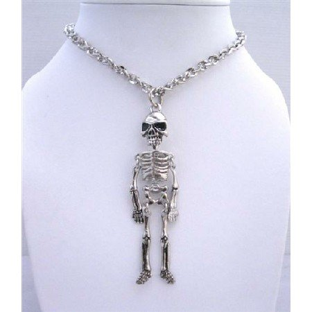 HH054  Skeleton Body Pendant Necklace NEW!! Halloween Jelwelry Halloween Necklace